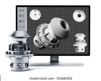 3D product design software and manufactured product. 3D illustration.