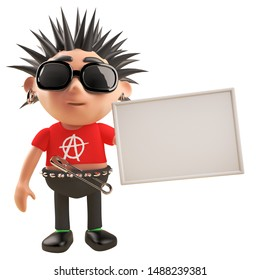 3d punk rock cartoon character with spikey hair holding a blank placard, 3d illustration render