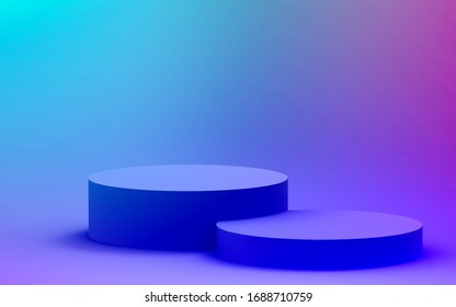 3d purple blue neon light cylinder podium minimal studio gradient dark colors background. Abstract 3d geometric shape object illustration render. Display for nightclub party and technology product.