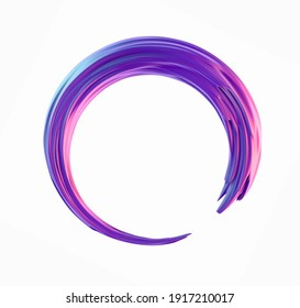 3d purple iridescent circle brush stroke frame design. Concept abstract holographic pink and blue paintbrush twisted smear 3d illustration isolated on a white background.