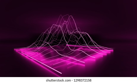 3D Purple modern lined chart graph business on dark background. 3D renderings.