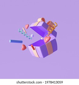 3D Purple surprise gift box, open gift box with objects explosion, greeting, lucky, special offer concept. 3d render illustration