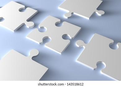 3d Puzzle concept: 5 blank jigsaw pieces