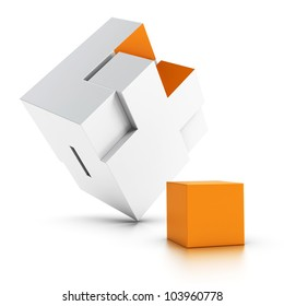 3d puzzle with an orange missing part over white background, symbol of intergration