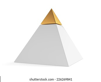 3d pyramid with golden cap isolated on white background