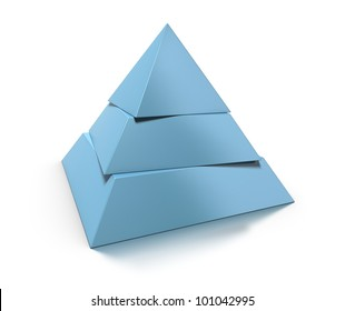 3d pyramid, three levels over white background with glossy reflection and shadow