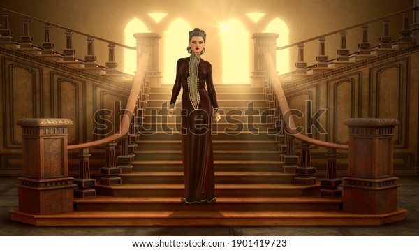 3D queen woman with gorgeous posture.