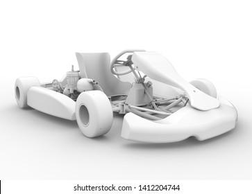3D RACING KART WHITE RENDERING