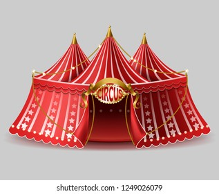 3d realistic circus tent with illuminated signboard for entertainment, amusement show. Red cirque, arena with bulbs, lighting. Marquee with stage for ad poster, promo banner