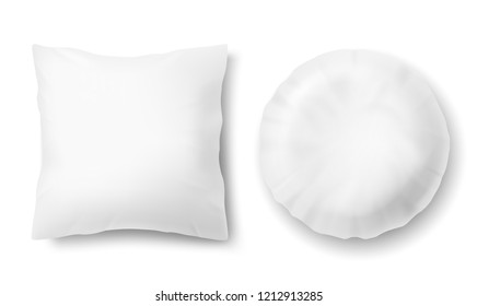 3d realistic comfortable pillows - square, round. Template, mock up of white fluffy cushion for relaxation, sleep, nap, bedding, rest.