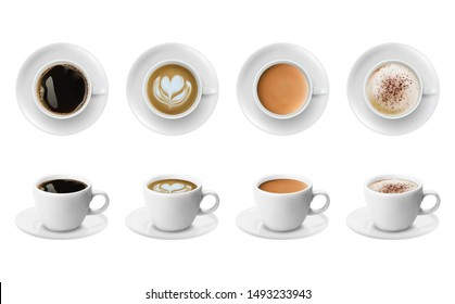 3d realistic different sorts of coffee in white cups view from the top and side. Cappuccino latte americano espresso cocoa in realistic cups. 3d model for cafe menu.