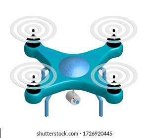 3D realistic drone with a video camera, copter on a white background. New ways to track and deliver