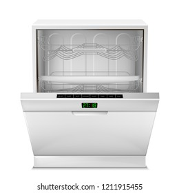 3d realistic empty dishwasher machine with digital display, with open door, front view isolated on background. Modern household appliance for washing dishes, with control panel, timer, buttons