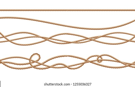 3d realistic fiber ropes - straight and tied up. Jute or hemp twisted cords with loops isolated on white background. Decorative elements with brown packthread.