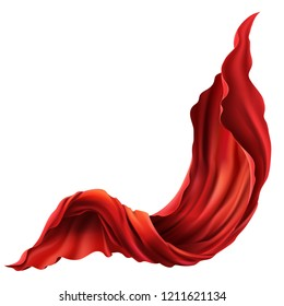 3d realistic flying red fabric. Flowing satin cloth isolated on white background. Abstract decorative scarlet velvet textile or silken flag