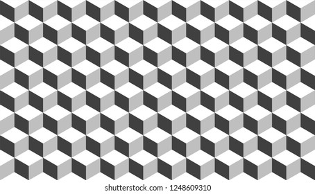 3D realistic grey square pattern. Medern cube texture. Geometric symmetry background
