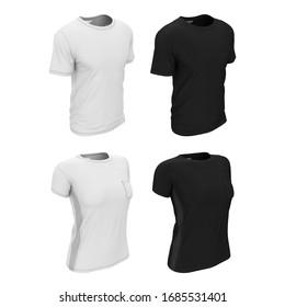 3d realistic illustration of a black and white blank template of a simple male and female t-shirt. Mock up for presentation of print, logo, design.