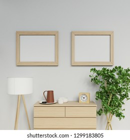 3d realistic illustration of nordic apartment interior room with two a2 size empty poster mock up with light wood frame hanging horizontal on the clean grey wall in family living area in front view