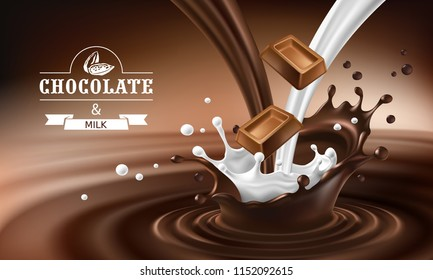 3D realistic illustration, splashes of melted chocolate and milk with falling pieces of chocolate bars. Milk chocolate packaging design, template, advertising poster