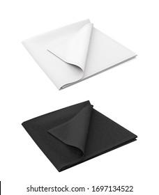 3d realistic illustration template, mockup black and white color. Scarf, shawl, kerchief, bandana, handkerchief, rag, cloth, towel, napkin.