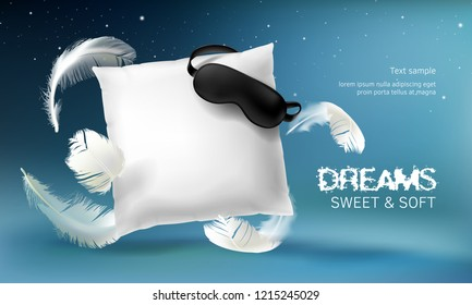 3d realistic illustration with white pillow, sleep mask, feathers, isolated on blue night background. Soft cushion for comfortable sleep and sweet dreaming. Mockup for presentation your product