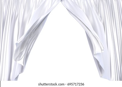 3D realistic illustration of the white stage curtains waving with the wind