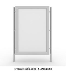 3D realistic light box citylight POS mockup isolated white background