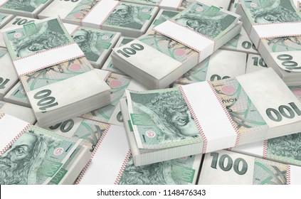 3D realistic render of 100 stack czech crown ceska koruna national money in czech republic. Isolated on white background.