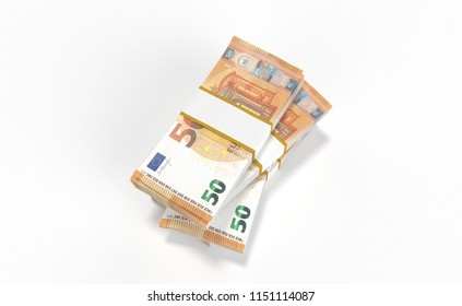 3D realistic render of 50 Euro money lots forming a pile isolated on white background.