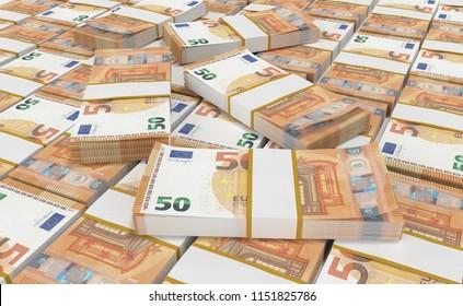 3D realistic render of 50 Euro Money. euro cash background. Euro Money Banknotes