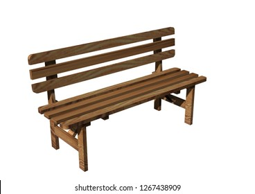 3D realistic render of bench. Wood construction isolated on white background.