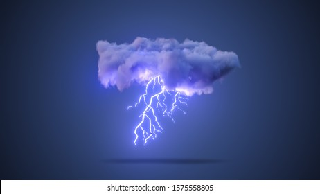 3D Realistic Render of a Cloud with Lightning Bolt