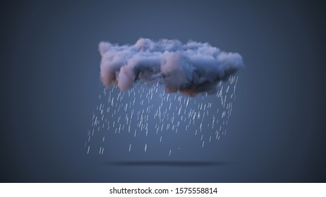 3D Realistic Render of a Cloud with Rain
