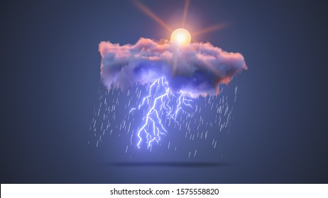3D Realistic Render of a Cloud with Rain, Lightning Bolt and Sun