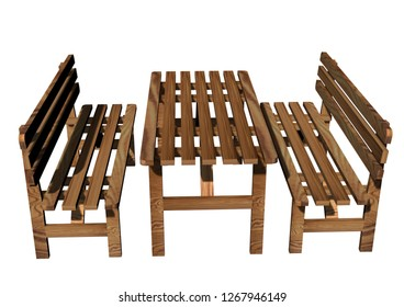 3D realistic render of garden furniture. Wood construction isolated on white background.