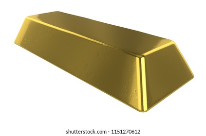 3D realistic render of Gold bar isolated on white background