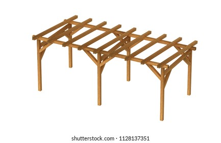 3D realistic render of pergola. Wood construction isolated on white background.