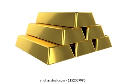 3D realistic render of pile golden bars. Isolated on white background.