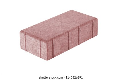 3D realistic render of red single lock paving brick. Isolated on white background.
