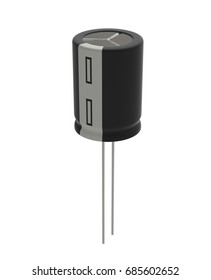 3D realistic render of small  black electrolytic capacitor Isolated on white background with shadow and clipping path, Electronics part concept.