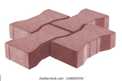 3D realistic render of three red lock paving bricks. Isolated on white background.