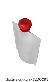 3D realistic render of white plastic package for children with red lid. With shadow and clipping path on a white background