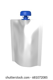 3D realistic render of white plastic package for children with blue lid. With shadow and clipping path on a white background