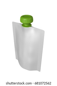 3D realistic render of white plastic package for children with green lid. With shadow and clipping path on a white background