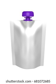 3D realistic render of white plastic package for children with purple lid. With shadow and clipping path on a white background