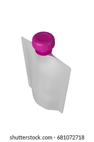 3D realistic render of white plastic package for children with pink lid. With shadow and clipping path on a white background
