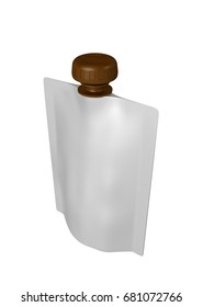 3D realistic render of white plastic package for children with brown lid. With shadow and clipping path on a white background