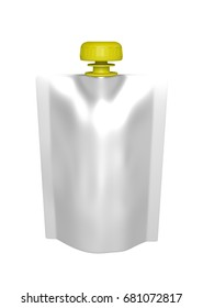 3D realistic render of white plastic package for children with yellow lid. With shadow and clipping path on a white background
