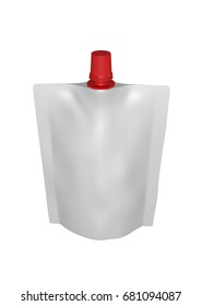 3D realistic render of white plastic package for children with red small lid. With shadow and clipping path on a white background