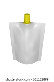 3D realistic render of white plastic package for children with yellow small lid. With shadow and clipping path on a white background